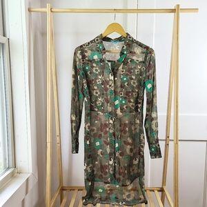 Floral Camo Tunic Blouse Nanette Lepore Green
